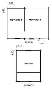 Víkendová chatka POHODA 3 s galerií-plánek