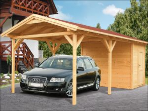 Dřevěné garážové stání, přístřešek na auto se skladem, pergola na auto