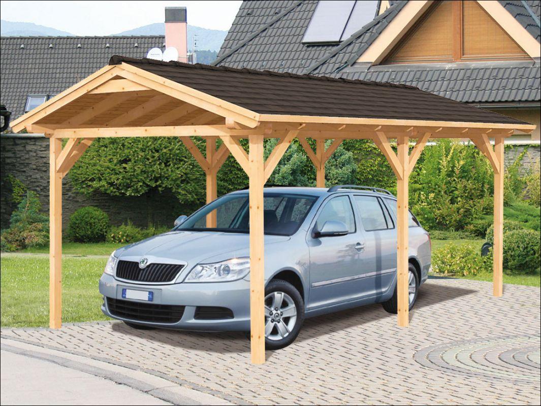 Dřevěné garážové stání, přístřešek na auto se sedlovou střechou, pergola na auto