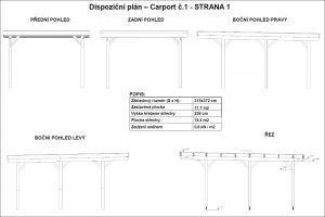 Carport PULT na 1 auto, garážové stání, dřevěné stání na auto, pergola na auto Výrobce 3