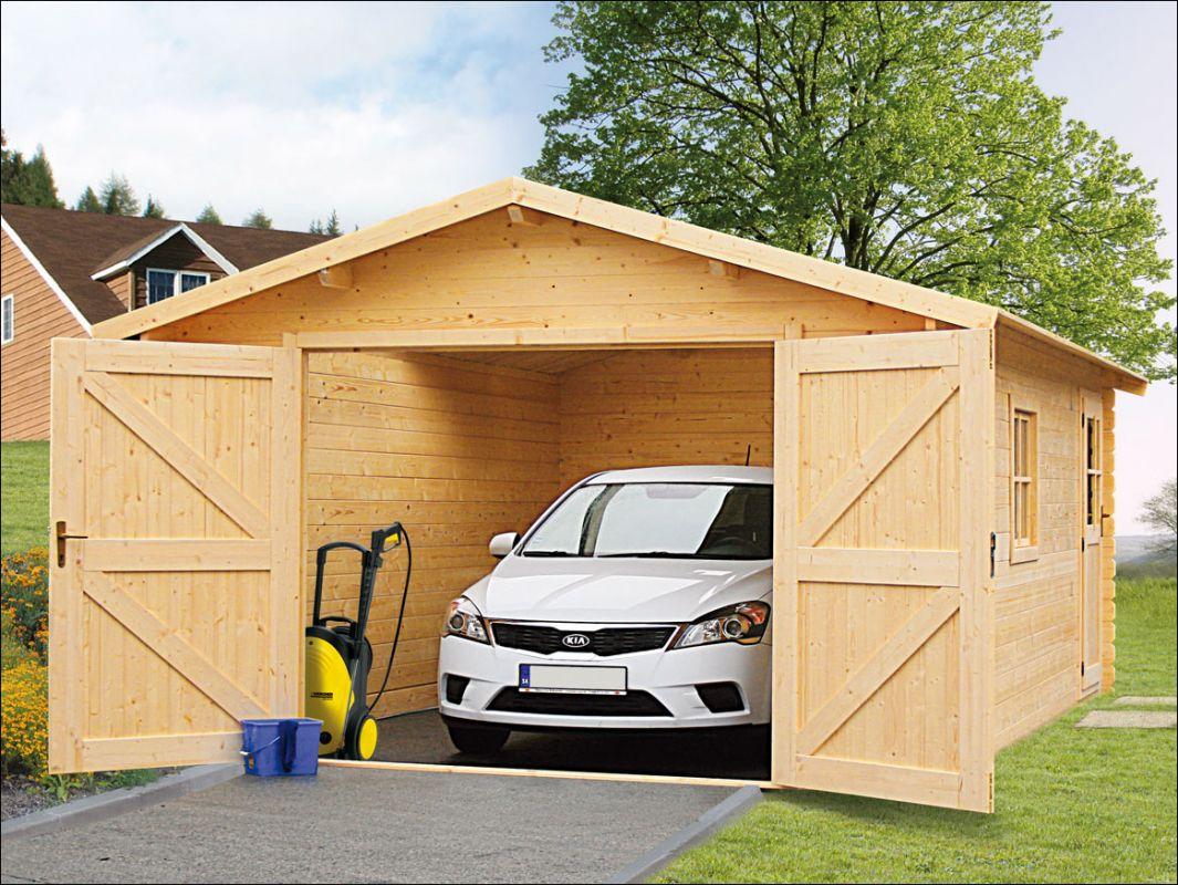 Srubová garáž, dřevěná garáž, garáž ze dřeva