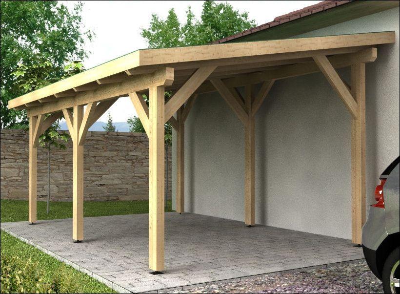 Dřevěný přístřešek ke zdi s pultovou střechou
