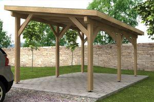 Dřevěný přístřešek s pultovou střechou