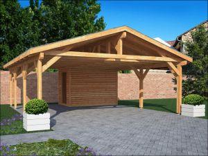 Dřevěné garážové stání se zadní přístavbou