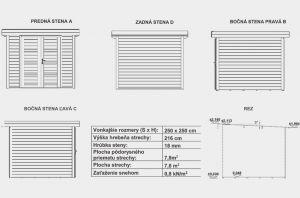 Moderní zahradní chatka LORA 2, síla stěny 18mm. Moderní domek na nářadí, nářadový domek Výrobce 3