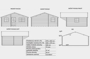 Víkendová chata MADRID 70 bez terasy, srubová chata, zahradní chata, dřevostavba, síla stěny 70 mm. Výrobce 3