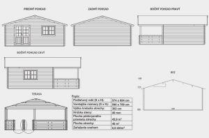 Zahradní chata Hana s terasou, síla stěny 40 mm. Srubová chata, dřevostavba, víkendová chata, dřevěná chata. Výrobce 3