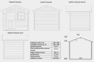 Zahradní chatka David 1, síla stěny 21mm. Domek na nářadí, zahradní chatka. Výrobce 3