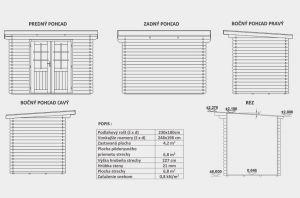 Zahradní chatka, domek na nářadí B0, síla stěny 21 mm, dřevěný zahradní domek Výrobce 3