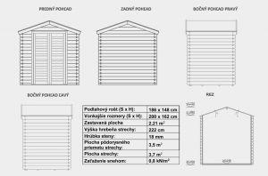 Zahradní chatka Julius 2, síla stěny 18mm. Nářaďový domek, dřevěný zahradní domek na nářadí. Výrobce 3