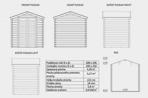 Zahradní chatka Julius 3. Nářaďový domek, síla stěny 18mm. Výrobce 3