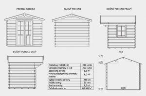 Zahradní chatka STEYR 1B, síla stěny 21 mm. Nářaďový domek Steyr 1B. Výrobce 3