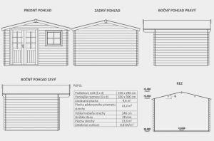 Zahradní domek Bruno A1, síla stěny 28 mm. Nářaďový domek, zahradní chatka, dřevěná zahradní chata. Výrobce 3