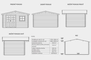 Zahradní domek Bruno B2, síla stěny 28 mm. Nářaďový domek, zahradní chatka, dřevěná zahradní chata. Výrobce 3