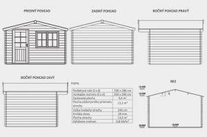 Zahradní domek Julie A1, síla stěny 28 mm. Nářaďový domek, zahradní chatka, dřevěná zahradní chata. Výrobce 3