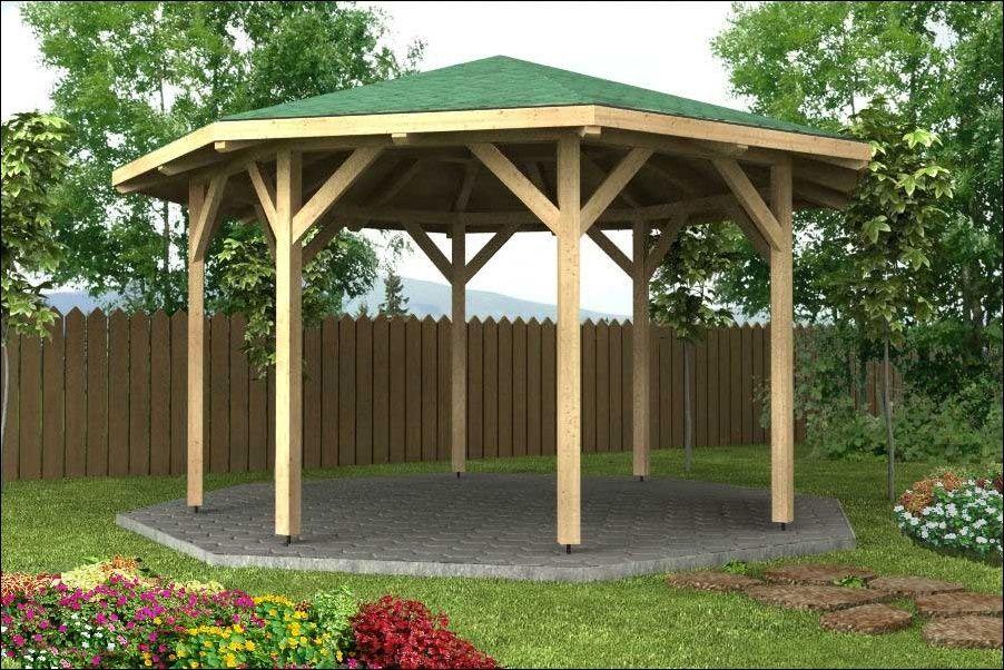 Dřevěný zahradní altán 8mi stranný